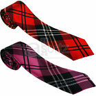 Tartan Red Pink Black Mens Ladies Satin Unisex Skinny Neck Tie Scotland