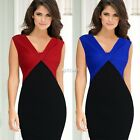 Women Ladies Colorblock Twist Ruched V Neck Party Cocktail Sheath Pencil Dress