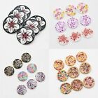 Wood Pattern Round Buttons Random Color DIY Sewing Scrapbooking Craft with Holes