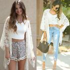 New Women Boho Fringe Lace Kimono Cardigan Beach Cover Up Cape Tops Blouse N98B