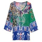 Summer Women's Boho Long Sleeve Chiffon Floral Beach Dress Blouse Cover Up N98B