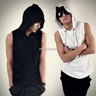 AU Men Summer Beach Hooded Casual Hoodie Sleeveless Cap Shirts Tops T-shirt Vest