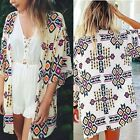 Women Geometry Loose Shawl Kimono Cardigan Boho Chiffon Tops Jacket Blouse N98B