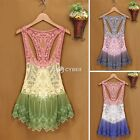 Women's Lace Crochet Hollow Sleeveless Swimwear Bikini Cover Up Beach Mini Dress