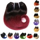 4pcs 50g Short Wavy Weave 1B Blonde Red Blue Ombre Human Hair weft 8inch hot