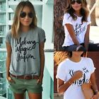 Sexy Women T Shirt Casual Blouse Letter Print Tops Summer Beach Short Sleeve Tee