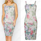 NEW WOMEN STRAPPY MIDI DRESS PASTEL FLORAL LADIES BODYCON SLEEVELESS CAMI SUMMER