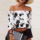 Women Off Shoulder Slim Sexy Crop Tops Embroidered Floral T Shirt Summer Blouse