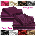 Plain & Stripe Silky Sexy Satin Flat Bed Sheets - Single Double King Superking