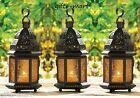 "3 amber Yellow 12"" tall Moroccan Marrakesh Candle holder Lantern terrace outdoor"