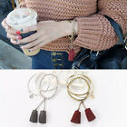 3PCs New Fashion Charm Women Jewelry Tassel Metal Bangle Bracelet Set Gift