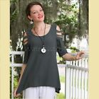 OH MY GAUZE Cotton MIAMI Peek-a-Boo A-Sleeves Top 1(S/M) 2(L/XL) 3(1X) GRAPHITE