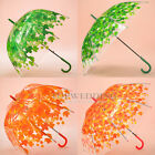 Dome/Normal Clear Transparent Umbrella Auto Hook Handle Autunm Leaft Sun Parasol