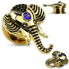 One Pair Gold Plated Elephant w/Sapphire Blue Gem Top Screw Fit Hollow Plugs
