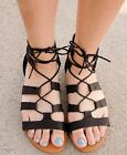 Womens Gladiator Flat Ankle Caged Cutout Lace Up Strappy Sandal Shoes