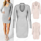 NEW LADIES MINI DRESS V NECK PLUNGE CHOKER CUT OUT WOMEN BODYCON LONG SLEEVE TOP
