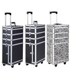 Pro 4in1 Interchangeable Rolling Makeup Case Cosmetic Aluminum Train Box Trolley