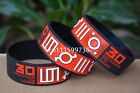 "30 SECONDS TO MARS Silicone 1"" Wide Filled in Colour Debossed Wristband Bracelet"