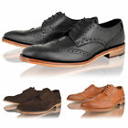 MENS BOYS LEATHER BROGUE SMART LACE UP TAN GOODYEAR WELTED SOLE SHOES SIZE