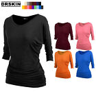 [DRSKIN] Womens 3/4 Sleeve Drape Top with Side Shirring tunic Dress T-Shirt