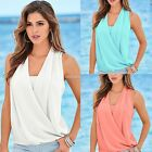 Women Deep Front Wrap Plunge V Neck Vest Top Tank Tops Blouse T-Shirt Shirt Tee