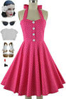 50s Style PLUS SIZE Miss Mabel FUCHSIA POLKA DOT Print Pinup HALTER Sun Dress