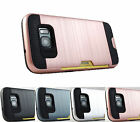 Samsung Galaxy S7 Edge G935 Brushed Texture Slim Hybrid Card Case Cover+Prytool