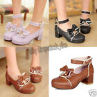 NEW Lolita Bow Tie Ankle Strap Platform Mid Heel Pumps Court Women Laides Shoes