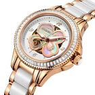 BUREI Ladies Mechanical Watch Four-leaf Shell Dial Steel Case Pearl Ceramic Band