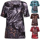 Womens Plus Size Printed Ladies Stretch Short Sleeve Stud Bead Long T-Shirt Top