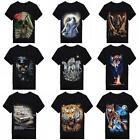 Hot Women Men Funny Vintage 3D Print Animal Space Galaxy Round Tops Tee T-Shirts
