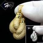 MEN 925 STERLING SILVER ICED BLING SILVER/GOLD DOUBLE BOXING GLOVE PENDANT*SP119