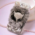 Luxury Bling Rhinestone Warm Soft Fur Wallet PU Leather Case Cover For Nokia