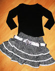 GIRLS TOP & BLACK WHITE BOW TRIM GLITTERY PRINT RUFFLE PARTY SKIRT with BELT