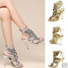 Womens high heel Metallic diamante prom wedding bridal lace up sandals cut out