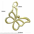 24K Gold Plated Sterling Silver Butterfly 14x16mm Charm Pendant PK1 PK5