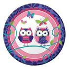 Owl Birthday Party - 8 Paper Plates 17cm - Free Postage in UK