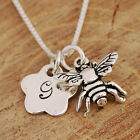 925 Sterling Silver Personalised Initialed Flower & Honey Bee Pendant Necklace