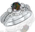Round Simulated Black Fire Opal Genuine Sterling Silver Engagement Ring Set