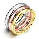 Womens 3PCs/Set Luxury Plain Titanium Steel Ring Rose/Gold/Silver Ring