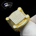 MEN 925 STERLING SILVER LAB DIAMOND ICED OUT BLING RING*GR54