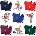 PERSONALISED EMBROIDERED BOOK BAG & STRAP WITH GYMNASTICS CUTIE IMAGE SCHOOL GYM