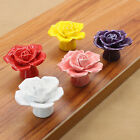 Drawer Cabinet Door Rose Flower Pull Handle Knob Ceramic Dresser Handle