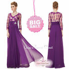CLARA Purple Lace Chiffon Jewel Maxi Evening Cruise Ballgown Dress UK SALE!!