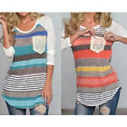 1 Pc Casual Striped Patchwork Long Sleeve Top Tee Women Ladies T Shirt
