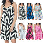 Ladies Long Printed Camisole Cami Strappy Swing Dress Vest Top Flared Sleeveless