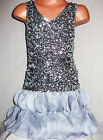 GIRLS SPARKLING SILVER SEQUIN CHIFFON PETALS EVENING OCCASION DANCE PARTY DRESS