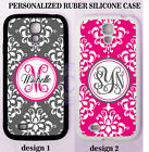 PERSONALIZED GREY HOT PINK DAMASK MONOGRAM CASE For Samsung