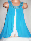 GIRLS TURQUOISE BLUE & WHITE DIAMONTE JEWEL TRIM CHIFFON PARTY SWING TOP