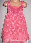 GIRLS CORAL LACE ROSETTES TRIM CHIFFON PARTY DRESS & LEGGING